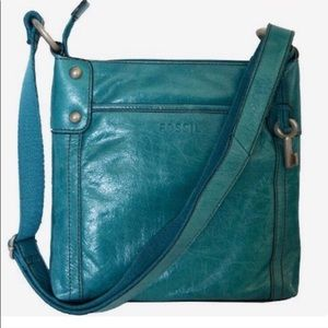 Fossil Glazed Leather Teal Crossbody Bag
